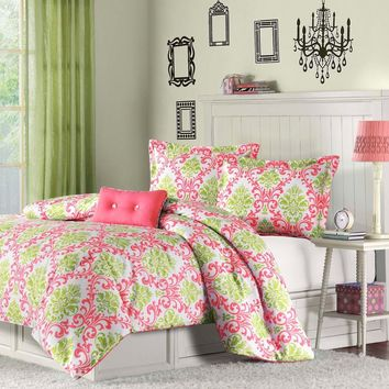 Full/Queen Coral Pink Light Olive Green White Damask Comforter Set