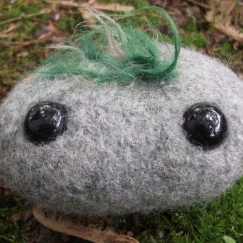 Rock plush, hand knit felted wool beach stone, river stone stuffed animal, ready to ship!