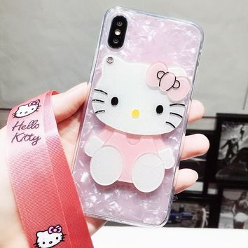 3D hello kitty For iPhone X case cute cartoon mirror for iPhone 8 7 6 6s plus pink shell with hang neck starp for iphone 8 plus