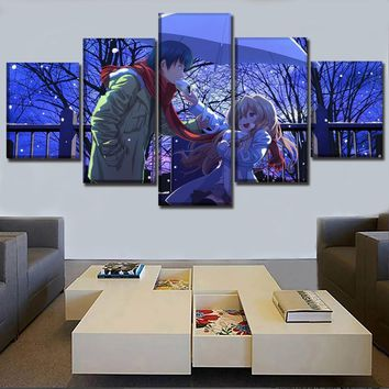 5 Pieces Anime Toradora! Poster Wall Art Modular Picture Home Decorative Living Room Framework On Canvas Printing Type Artwork