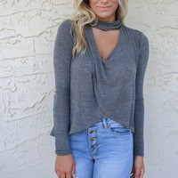 Give Me Love Dark Grey Mock Neck Long Sleeve Swing Top *ready to go live*