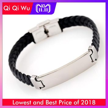 Custom Engraved Stainless Steel Bracelet Mens Jewelry Personalized Titanium Leather Fashion Hand Woven Wristband ID Wrist Band