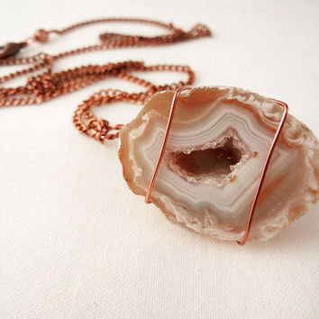 Geode necklace - tan and white agate geode wrapped in copper wire - long copper necklace