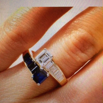 4.86ct EMERALD CUT DIAMOND Sapphire Engagement ring JEWELFORME BLUE 900,00 GIA certified Diamonds
