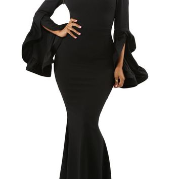 Black Off Shoulder Pleated Bell Sleeves Party Maxi Dress