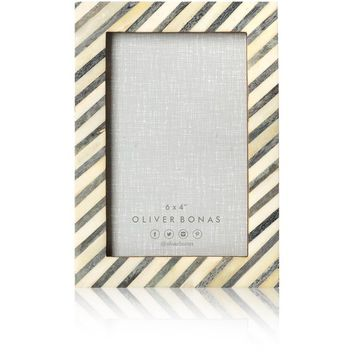 "Grey Thin Stripe Bone Frame 6 x 4"" - All - Oliver Bonas"