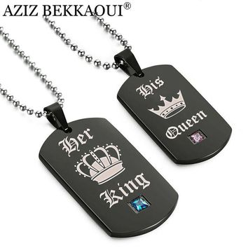 Cool AZIZ BEKKAOUI Tags Pendant Couple Necklace Her King & His Queen Crown Necklace Military Army Cards for Lover DropshippingAT_93_12