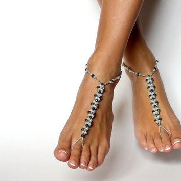 Beaded Barefoot Sandals in White Silver and Dark Blue Foot Jewelry Anklet Beach Wedding Sandals