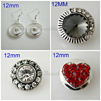 Red Valentine mini snap charm earrings compatible with Noosa or Gingersnap style jewelry. 3 sets of 12 mm chunk charms