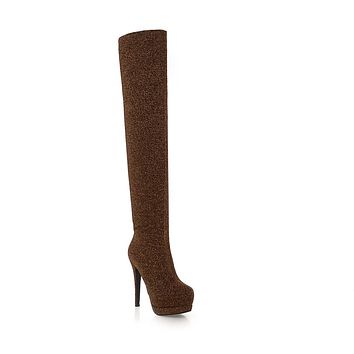 Tall Boots Platform High Heels Winter Shoes for Woman 8018
