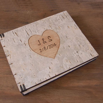 Personalized engraved white birch bark wedding / anniversary guest book