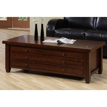 Cherry Walnut Living Room Coffee Table with Three Drawers