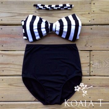 Black & White Bow Bandeau Top Black High Waist Bikini