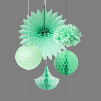 5pcs Mint Kit Party Decoration Tissue Paper Pom Poms/Fans Tissue Paper Honeycomb Drops/Balls Fluffy Paper Flowers Wedding Decor