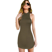 Olive Greeen Smock Halter Dress