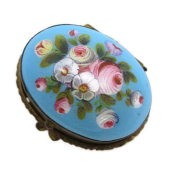 Antique Enamel Patch Box - Painted Flowers, Robins Egg Turquoise Blue, Miniature Snuff Box
