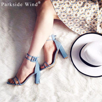Parkside Wind Trendy Sandals Women Ankle Strap Sandals Transparent Shoes Crystal Concise Classic Buckle High Heels Shoes -49