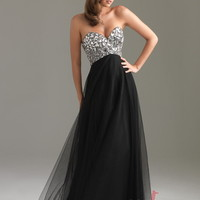 A-line Sweetheart Floor-length Tulle Prom Dress with Rhinestone at Msdressy