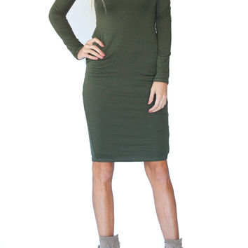 Olive Lace Up Sheath Dress