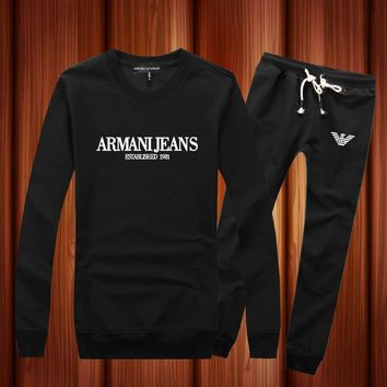 Armani Woman Men Long Sleeve Shirt Top Tee Pants Trousers Set Two-Piece Sportswear