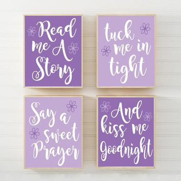 PURPLE Lilac Nursery Wall Art, CANVAS or Print Purple Nursery Quote Decor, Read Me A Story Kiss Me Goodnight Rhyme Quote Crib Decor Set of 4