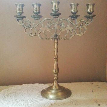 Vintage Brass Sabbath Candelabra Five Candle Foo Dogs Winged Griffins Victorian Antique