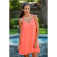 Look On The Bright Side Dress-Neon Coral