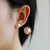 1Pair Women Fashion 925 Sterling Silver Calf Elephant Ear Studs Earrings (Color: Silver) = 1958437700