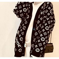 LV Louis Vuitton Popular Women Casual Print V Collar Sweater Knit Cardigan Jacket Coat Black