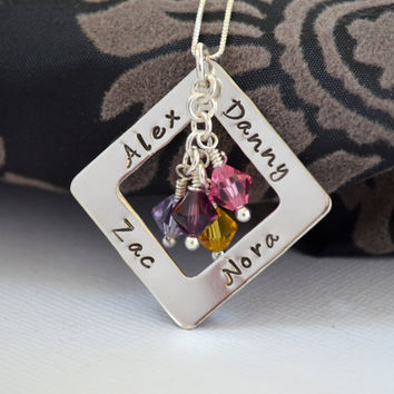 Hand-Stamped Mother Family Necklace- Personalized Four Name Necklace