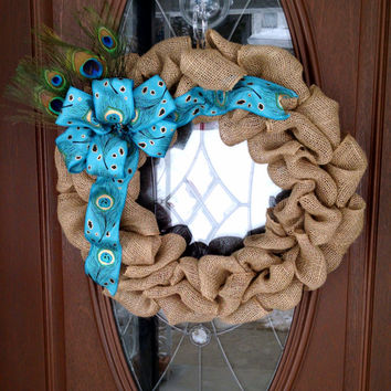 "Peacock Wreath, Burlap Wreath, Year Round Wreath, Burlap Bubble Wreath, Peacock Feathers, Turquoise/Teal, 21"" Indoor/Outdoor Wreath"