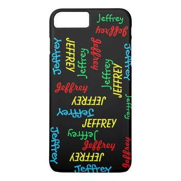 Fun Unique Repeating Names on Black, Personalized iPhone 8 Plus/7 Plus Case