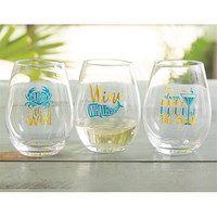 Beach Happy Hour Stemless Wine Glasses