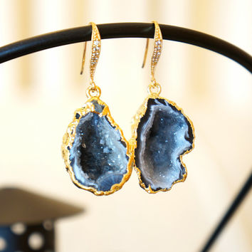 Divinely Starry Night Geode Druzy Earring - Agate Geode - Geode Earrings - Geode Jewelry - Druzy Earrings - Druzy Jewelry