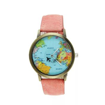 New Global Travel By Plane Map Wrist Watch Fabric Band | Pink Color