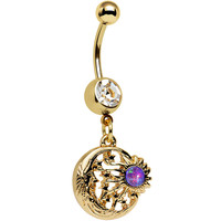 Clear Gem Purple Faux Opal Gold Anodized Sunburst Dangle Belly Ring