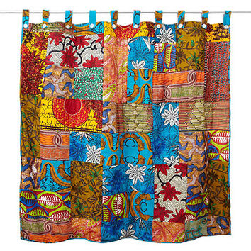African Patch Shower Curtain | Floral Cotton Patchwork