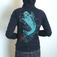 Supermarket - Japanese Tattoo Koi womens Zip Up Hoodie from Ahpeele