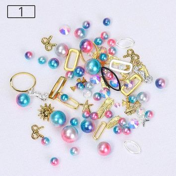 1 Box Mermaid Gradient Pearl Nail Beads Multi-size Rhinestone Metal Frame Manicure Accessories 3D Nail Art DIY Decoration