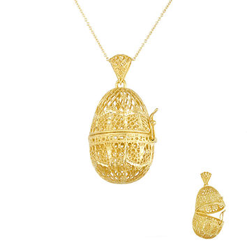 14 Karat Yellow Gold Wire, Filigree Style, Egg Shaped Pendant/Locket
