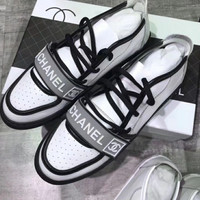 Chanel vintage leather new fashion white shoes sneakers