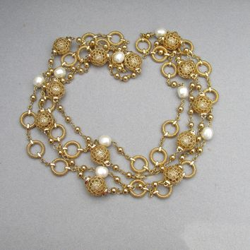 Pair Long Chunky Gold Filled Filigree & Faux Pearl Chain Necklaces