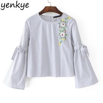 Women Floral Embroidery Striped Blouse Shirt O Neck Bow Tie Long Sleeve Pullover Crop Top