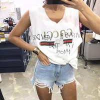 ONETOW Gucci Fashion Casual Print Top Tank Vest