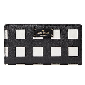 Kate Spade Grove Street Stacy Printed Pop Art Check Wallet Purse Bag; Black/White