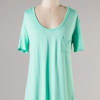 Mint Short Sleeve Pocket Tunic Top