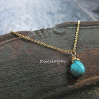 Turquoise Necklace Silver Gold Blue Stone Wire Wrapped Tear Drop Small Modern Rustic Casual Simple Every Day Friendship Gift