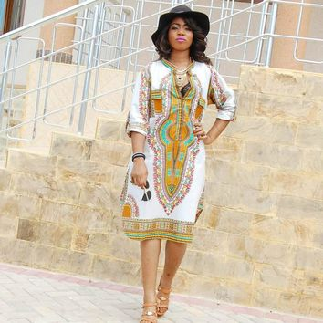 Women Autumn T shirt Dress Traditional African Dashiki Print Party