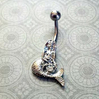 Mermaid Belly Button Ring with Crystal Stone