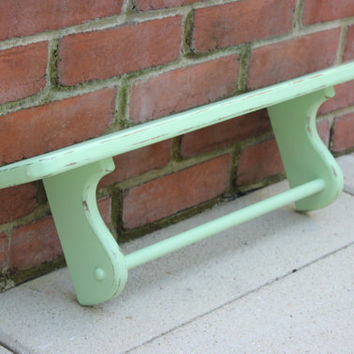 Wood shelf with towel rod, painted shelf, mint green decor, kitchen organizer, bathroom decor